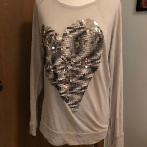 Express Long Sleeve Top W/sequined Heart